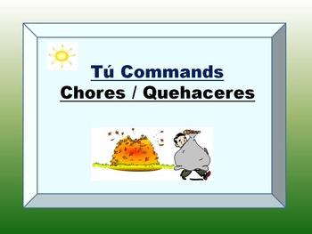 Spanish Chores Tú Commands PowerPoint Flashcards