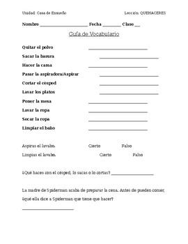 Spanish Chores Vocab Worksheet