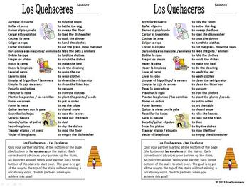 Spanish Chores Vocabulary Pair Work and Reference / Quehaceres