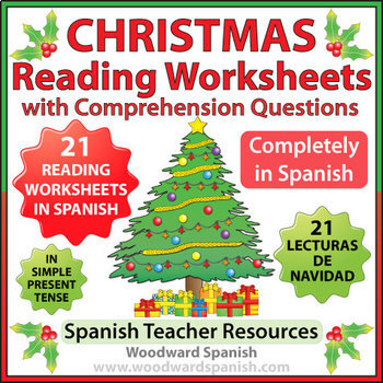 spanish christmas 21 reading comprehension worksheets in present tense. Black Bedroom Furniture Sets. Home Design Ideas