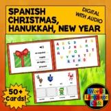Spanish Christmas Activities, Hanukkah, Spanish Boom Cards, Spanish New Year's