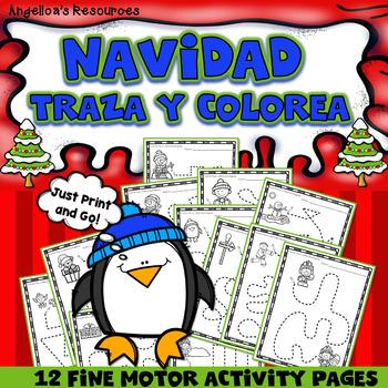 Spanish Christmas  Activities: Traza y Colorea - Navidad - Fine Motor Printables