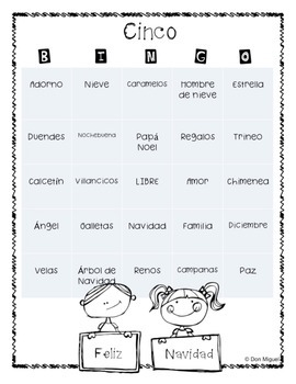 Spanish Christmas Bingo Activity Game - La Navidad - Plus Vocab Worksheet