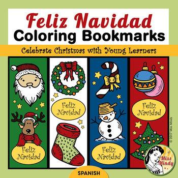 Spanish Christmas Bookmarks for Coloring - Navidad Marcadores de Libro