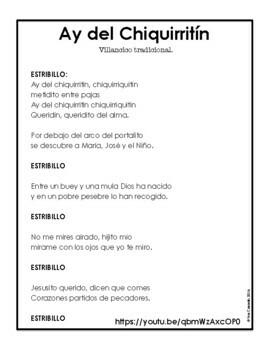 Spanish Christmas Carol Lyric Fill-in Ay Del Chiquirritin