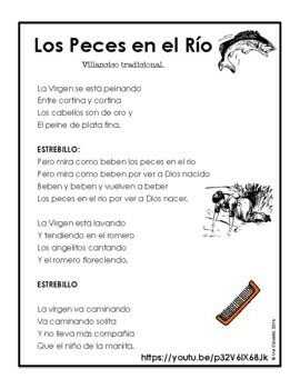 Spanish Christmas Carol Lyric Fill-in Los Peces en el Rio