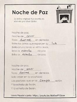 Spanish Christmas Carol Lyric Fill-in Silent Night (Noche de Paz)