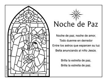 Spanish Christmas Carol Noche de Paz Silent Night Song Coloring Page {FREEBIE}
