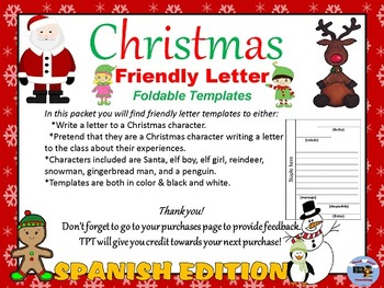 Spanish Christmas Characters Letter Writing By Good First Teaching