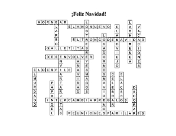 spanish christmas crossword puzzle - Christmas Crossword Answers