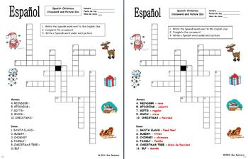photograph relating to Holiday Crossword Puzzles Printable titled Spanish Xmas Crossword Puzzle Worksheet - Navidad