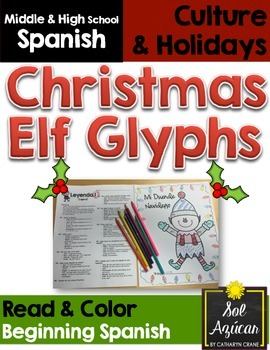 Spanish Christmas Elf Glyph Read and Color - Beginning Level