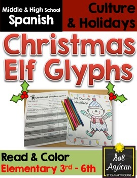 Spanish Christmas Elf Glyph Read and Color - Elementary Gr