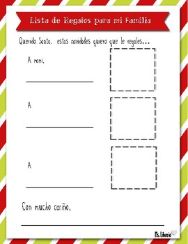 Family Christmas Gift Lists.Spanish Christmas Family Gift List By The Bilingual Slp Tpt
