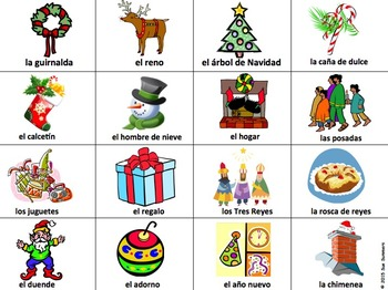 Spanish Christmas Game Cards / Flashcards - 32 Different Cards