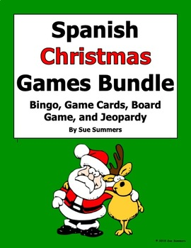 Christmas Spanish.Spanish Christmas Games Bundle Game Cards Bingo Board Game Jeopardy