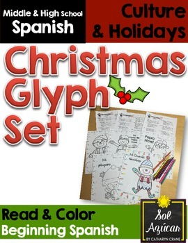 Spanish Christmas Glyph - Set of 3 Reading Activities - Beginng Level