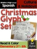 Spanish Christmas Glyph Set of 3 Reading Activities - Elementary Level