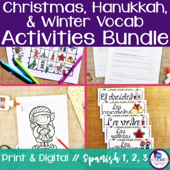 Spanish Christmas, Hanukkah, & Winter Vocabulary Activities Bundle