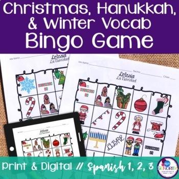 Spanish Christmas, Hanukkah, & Winter Vocabulary Bingo {Lotería} Game