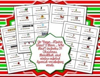 Spanish Christmas, Hanukkah, & Winter Vocabulary I Have Who Has Game