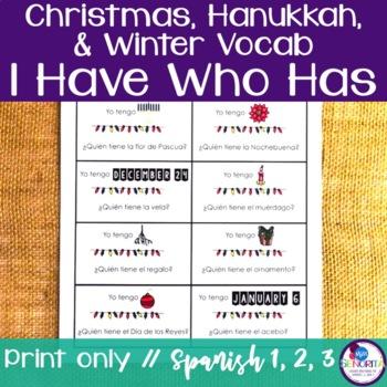 Spanish Christmas, Hanukkah, & Winter Vocabulary I Have Wh