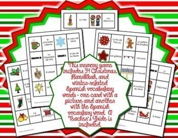 Spanish Christmas, Hanukkah, & Winter Vocabulary Memory Game