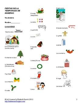 Spanish Christmas, Hanukkah, and New Year  Vocabulary and Activities