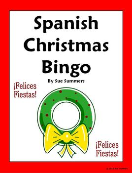 Spanish Christmas Bingo with Vocabulary - 35 Game Cards
