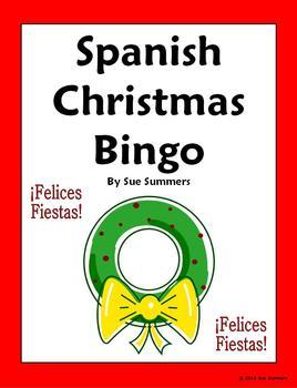 Spanish Christmas Bingo with Vocabulary - 35 Game Cards