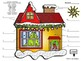 Spanish Christmas House Exterior Labeling and Coloring Activity