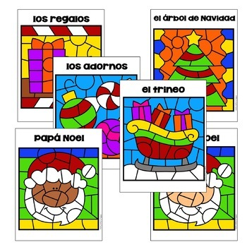 Spanish Christmas / La Navidad Color by Number