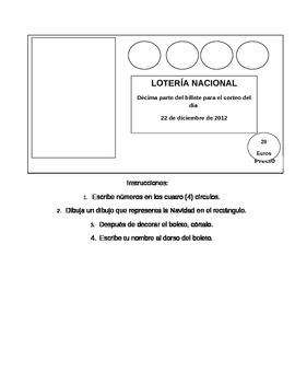 Spanish Christmas Lotería Lottery Ticket Activity
