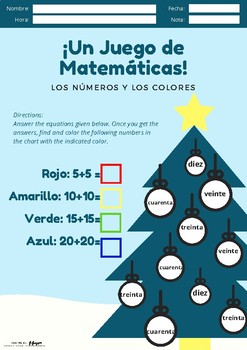 Spanish Christmas Math and Colors Game