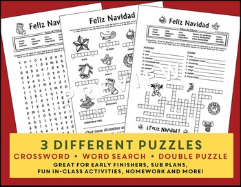 Spanish Christmas: Navidad 3 Puzzle Pack: Crossword - Word Search - Vocabulary