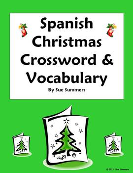 photo about Holiday Crossword Puzzles Printable called Spanish Xmas Navidad Crossword Worksheet Vocabulary