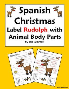Spanish Christmas / Navidad Label Rudolph with Animal Body Parts