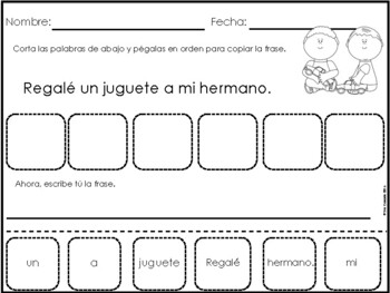 Spanish Christmas Navidad Mixed up Sentences