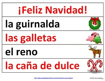 Spanish Christmas Word Wall / La Navidad - 40 Words with Pictures 2 Versions