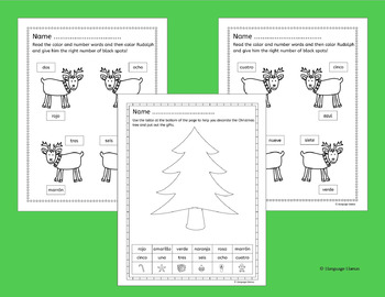 Spanish Christmas Navidad Numbers and Colors Activities