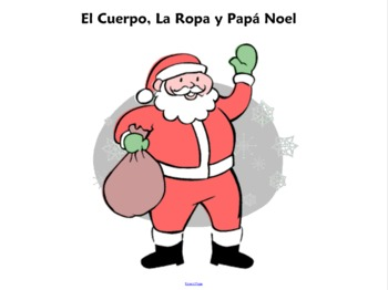 Spanish Christmas Papa Noel With Body Parts and Clothing SmartBoard Activity