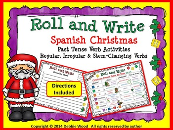 Spanish Christmas Roll and Write: Past Tense Verb Activities