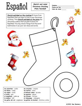 Spanish Christmas Stocking Sketch and Label
