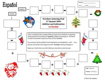 Spanish Christmas Theme Numbers and Math Listening Activity