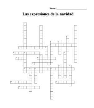 Spanish Christmas Vacation Crossword Puzzle