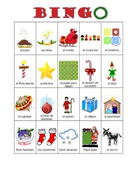 Spanish Christmas Vocabulary Bingo / Bingo de Navidad