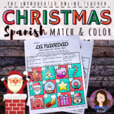 Spanish Christmas Vocabulary Match and Color Activity - Printable
