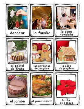 Spanish Christmas Vocabulary Posters & Flashcards with Real Photos