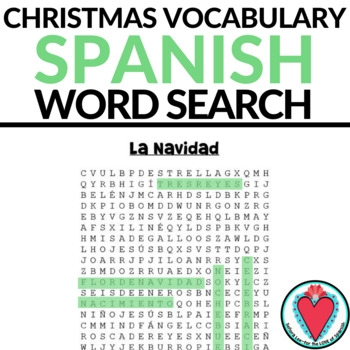 Spanish Christmas Vocabulary Word Search - The Nativity
