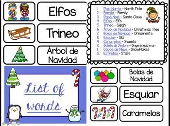 Spanish Christmas Vocabulary Words and Activities/ Vocabulario de Navidad